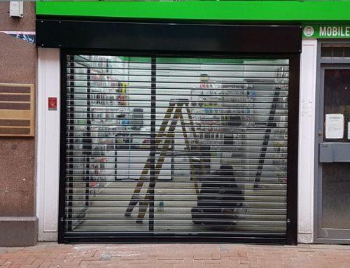 Perforated Roller Shutter and Aluminium Shopfront Installation at Reading, Berkshire